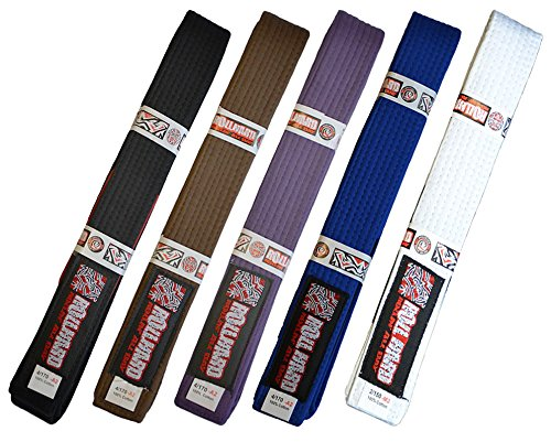 ROLL HARD Brand - Brazilian Jiu Jitsu Belts and Sizes (White, A6)