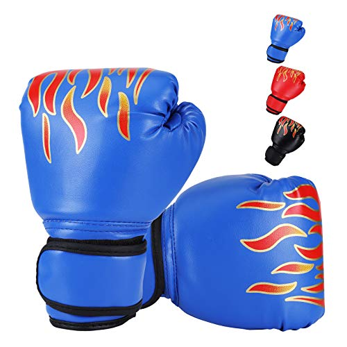 Kids Boxing Gloves, DTOWER Mini Boxing Gloves for Training Sparring Kickboxing Fighting, PU Leather Punching Bag Training Gloves for Kids, Teens, Youth, Beginners, Boys, Girls - Blue