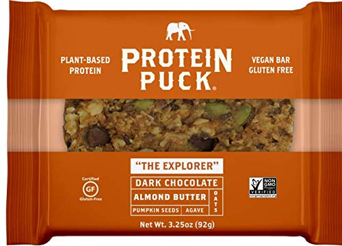 Protein Puck Bar, Dark Chocolate Almond, Gluten Free, Vega, Non GMO, Fiber, Non-Dairy, 16 ct Case