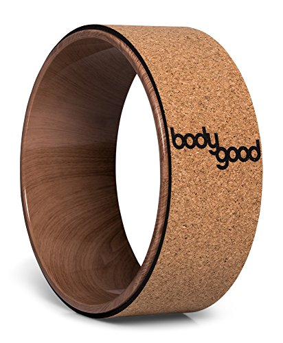 BodyGood Cork Yoga Wheel. Pro Grade, 13-inch Dharma Yoga Prop Supports up to 500 lbs. Improve Back Bends, Deepen Practice or Release Tight Muscles (Cork/Woodgrain)