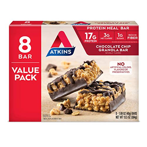 Atkins Protein Meal Bar, Chocolate Chip Granola, Keto Friendly, 8 Count