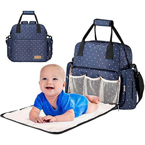 Large Diaper Bag Backpack,Monlovage Waterproof Nappy Tote with Changing Mat Blue