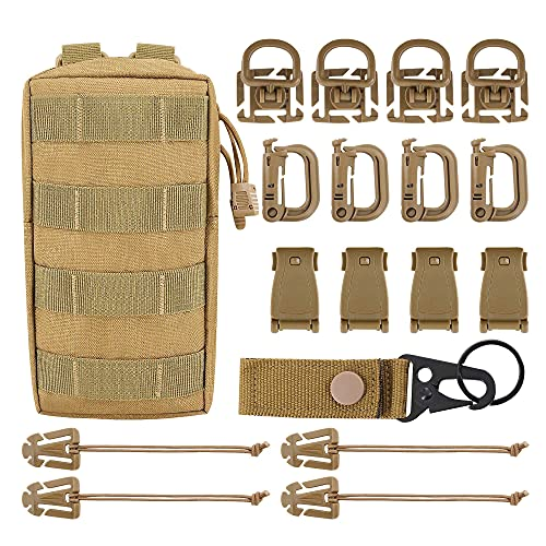 """MGFLASHFORCE Kit of 18 Molle Attachments Molle Carabiner Clips and Straps for 1"""" Webbing, Molle Bags, Tactical Backpack, Tactical Vest, Tactical Belt Molle Accessories (Tan)"""