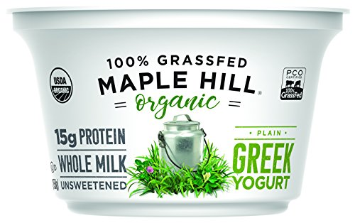 Maple Hill Creamery, 100% Grass Fed Organic Greek Yogurt, Plain, 5.3 oz