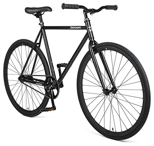 Retrospec Harper Single-Speed Fixie Style Urban Commuter Bike with Coaster Brake, Matte Black 53cm, M