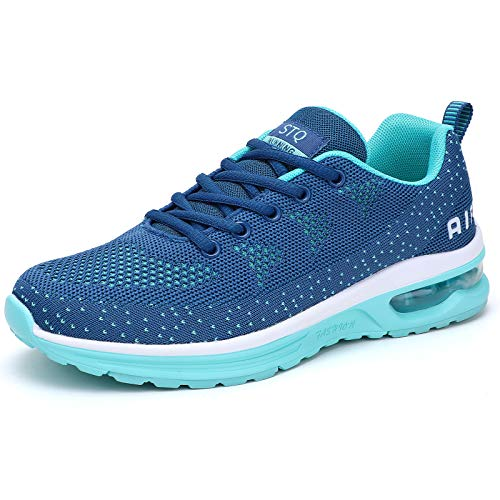 Women Mesh Tennis Shoes Lightweight Air Cushion Workout Gym Shoes with Arch Support, Navy Aqua Size 9