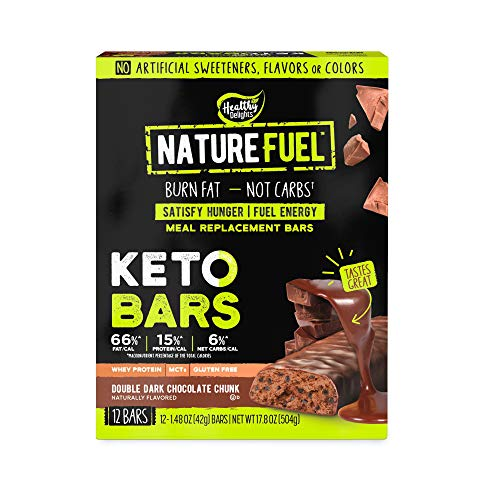 Healthy Delights Nature Fuel Keto Meal Replacement Bar Gluten Free with Whey Protein MCTs, Double Dark Chocolate Chunk, 12 Count