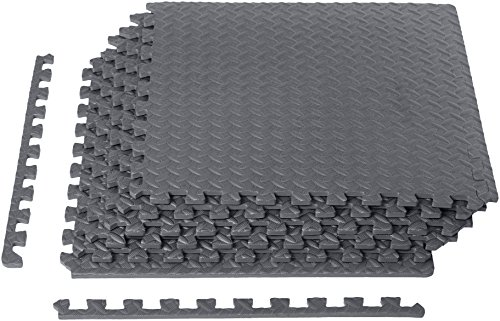 AmazonBasics EVA Foam Interlocking Exercise Gym Floor Mat Tiles - Pack of 6, 24 x 24 x .5 Inches, Grey