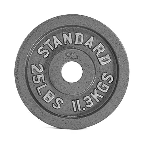 CAP Barbell Olympic 2-Inch Weight Plates, Gray, Single, 25 Pound