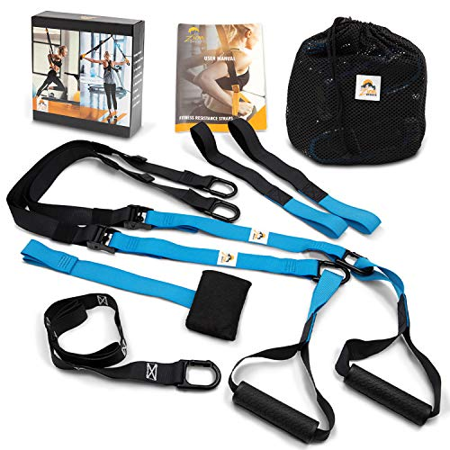 Zion Sports Bodyweight Resistance Suspension Training Straps - Home Fitness Trainer for All Levels, Full Body Workout