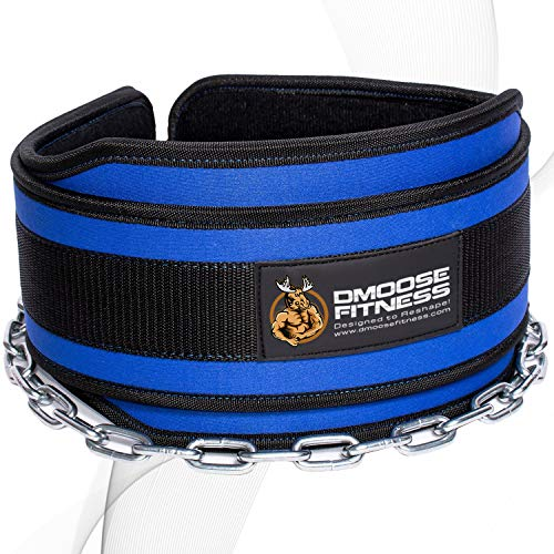 DMoose Fitness Dip Belt with Chain for Weightlifting, Pullups, Powerlifting, and Bodybuilding Workouts, Long Heavy Duty Steel, Comfortable Neoprene Waist Support (Blue)