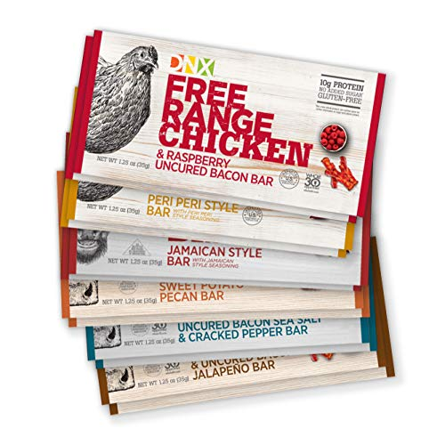 DNX Grass Fed Bison, Free Range Chicken, Grass Fed Beef Bars, High Protein Bar Meat Snacks, Keto, Paleo, Whole30, Gluten-Free, Dairy-Free, Grain-free, Nitrate-Free, Non-GMO (Variety 12 Pack)