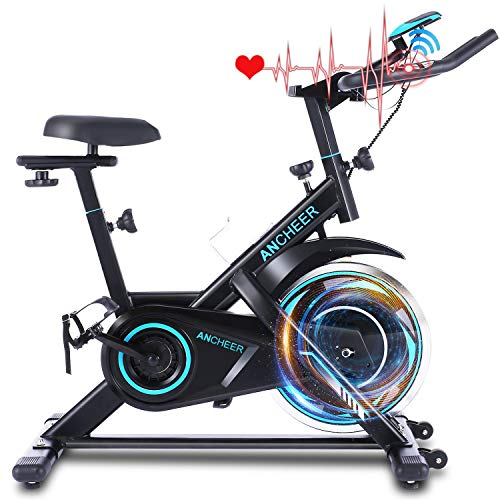 ANCHEER Exercise Bike Stationary, 40 Lbs Weight Capacity- Indoor Cycling Bike with Tablet Holder and LCD Monitor for Home Workout (Dark Black)