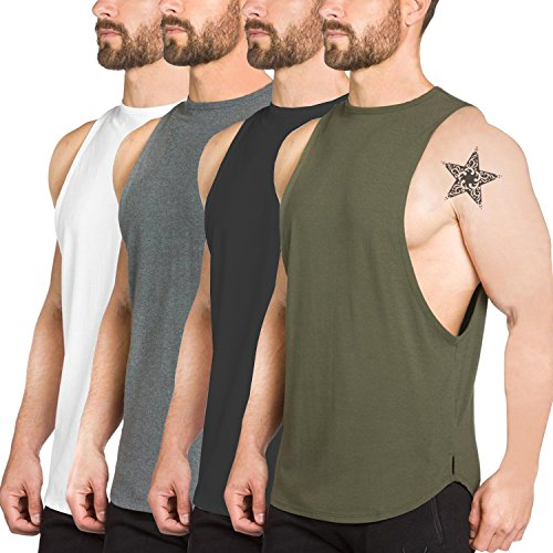 Men's 4 Pack Fitness Workout Tank Tops Gym Cotton Tshirts Sleeveless(ALL)