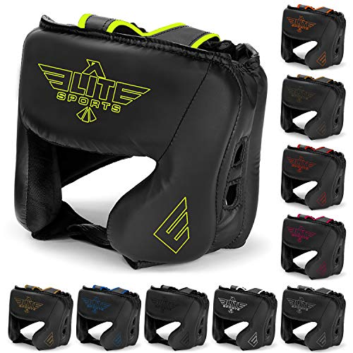 Elite Sports New Item Boxing Head Guard, Sparring Kickboxing, MMA, Muay Thai Headgear Kick Brace Head Protection (Green)