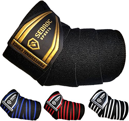 Sedroc Sports Professional Weight Lifting Elbow Wraps Powerlifting Support Sleeves - Pair (Black/Gold)