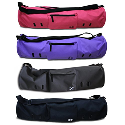 YogaAddict Yoga Mat Bag 'Compact' with Pocket, 28' Long, Fit Most Mat Size, Extra Wide, Easy Access - Purple