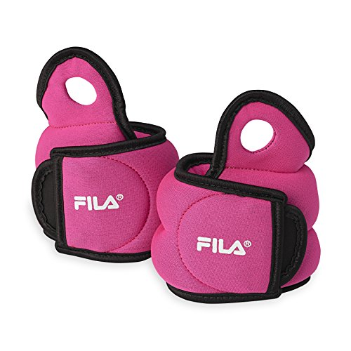 FILA Accessories Wrist Weights Set for Women/Men - 4lb Set (2 Pounds Each) - Adjustable Straps for Home Workout Exercise, Walking, Running, Strength Training, Weight Lifting, Yoga, Pink
