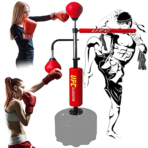 SDFKL Multifunctional Boxing Gym Equipment,360 Spinning Bar with Dual Punching Balls,UFC,Training Reaction/Speed/Coordination,Relieve Stress,for Kids and Adults,Home Boxing Training