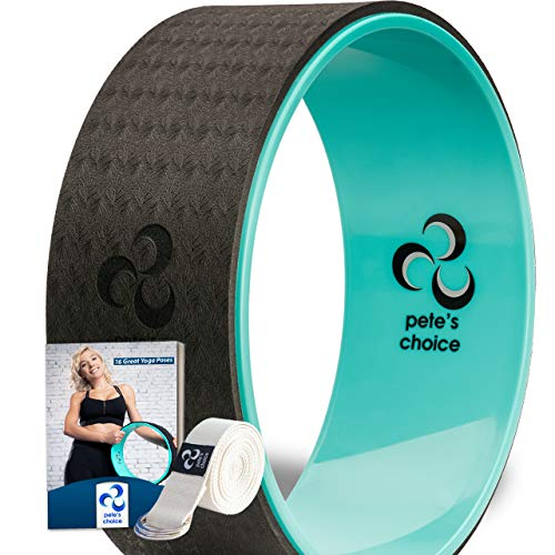 pete's choice Dharma Yoga Wheel with Bonus eBook & Free Yoga Strap | Comfortable & Durable Yoga Balance Accessory | Increase Flexibility | Ideal Home Yoga Kit
