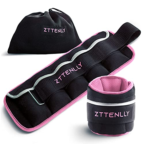 ZTTENLLY Adjustable Ankle Weights 1 to 10 LBS Pair with Carry Bag - Breathable Fabrics, Reflective Trim - Strength Training Leg Wrist Arm Ankle Walking Weights Sets for Women Men Kids