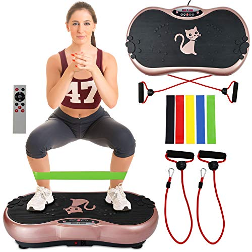 Ravs Vibration Plate Exercise Machine Whole Body Workout Machine Vibration Fitness Platform Machine Home Training Equipment with Resistance Bands, Remote Control and Max Load 330lbs