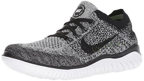 Nike Womens Free Rn Flyknit 2018 Low Top Lace Up Running, White/Black, Size 8.5