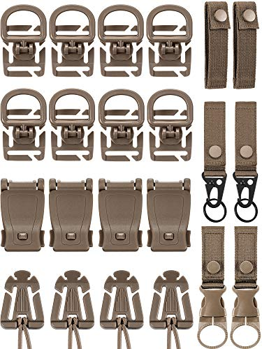 30 Pieces Molle Attachments Set Tactical Gear Clip Strap for Backpack Webbing D Ring Dominators Tactical Vest Belt (Style A)