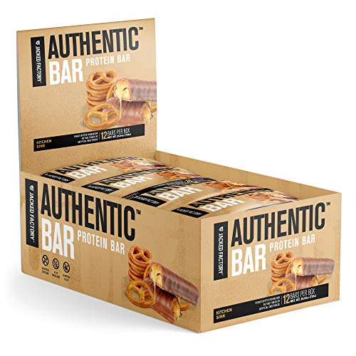 Authentic Bar Kitchen Sink Protein Bars - Tasty Meal Replacement Energy Bars w/ 16g Whey Protein Isolate, Natural Sugars from Pure Honey, Healthy Fat Peanut Butter Foundation - 12 Pack