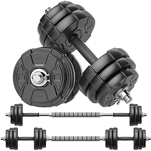 RUNWE Adjustable Dumbbells Barbell Set, Free Weight Set with Steel Connector at Home/Office/Gym Fitness Workout Exercises Training, All-Purpose for Men/Women/Beginner/Pro(50 lbs-2 Dumbbells in Total)