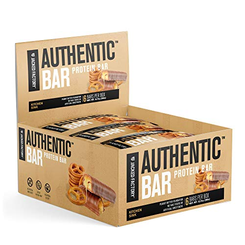 Authentic Bar Kitchen Sink Protein Bars - Tasty Meal Replacement Energy Bars w/ 16g Whey Protein Isolate, Natural Sugars from Pure Honey, Healthy Fat Peanut Butter Foundation - 6 Pack
