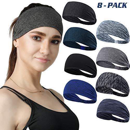 DASUTA Set of 8 Women's Yoga Sport Athletic Workout Headband for Running Sports Travel Fitness Elastic Wicking Non Slip Lightweight Multi Style Bandana Headbands Headscarf fits All Men & Women