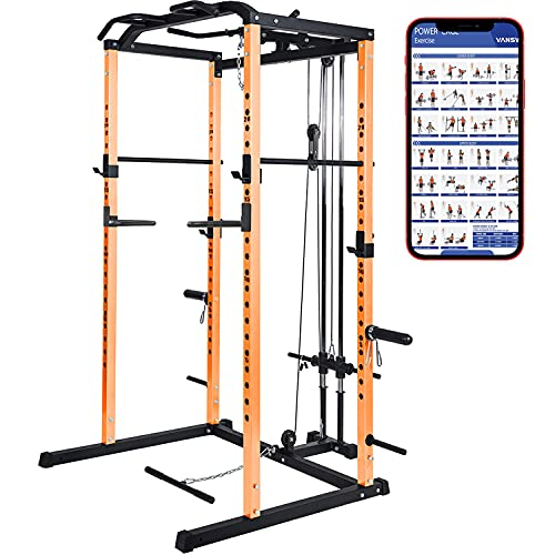 VANSWE Power Cage with LAT Pull Down Attachment, 1000-Pound Capacity Power Rack Full Home Gym Machine with Multi-Grip Pull-up Bar and Dip Handle (Upgraded Version)