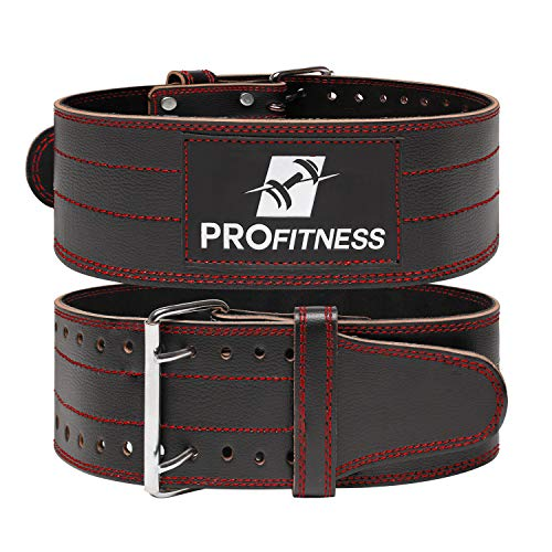 Weight Lifting Belts for Men and Woman Leather Weightlifting Belt Comes (Black/Red, Medium)
