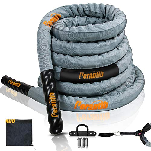 Perantlb Battle Rope with Cloth Sleeve -1.5/2 Inch Diameter 30' 40' 50' Lengths -Gym Muscle Toning Metabolic Workout Fitness, Battle Rope Anchor Strap Kit Included (1.5' x 30 ft Length)