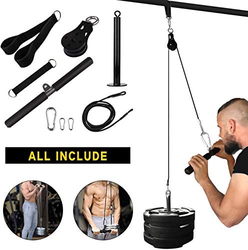 Skboy Fitness LAT and Lift Pulley System, Nylon Machine with Upgraded Loading Pin for Triceps Pull Down, Biceps Curl, Back, Forearm, Shoulder-Home Gym Equipment