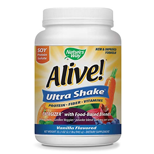 Nature's Way Alive! Soy Protein Shake, Includes Vitamins, Fiber and Food-Based Blends (1,150mg per serving), Vanilla Flavor, 27 Servings