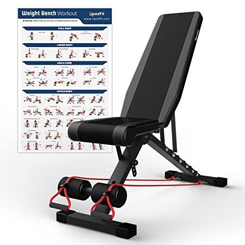 SpoxFit Adjustable Weight Bench, Foldable Strength Training Workout Bench for Home Gym, Multi-Purpose Incline Decline Bench with Workout Poster & Resistance Bands, Fast Folding Design