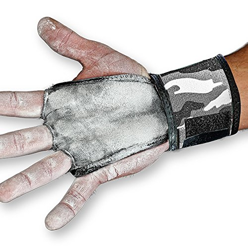 JerkFit WODies Camo Hand Grips with Wrist Wraps for Weightlifting, Pull-Ups, Cross Training, WODs, and Gymnastics, Prevent Blisters and Rips, for Men and Women (Grey Camo, Large, Pair)