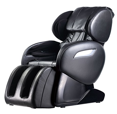 Zero Gravity Full Body Electric Shiatsu FDA Approved Massage Chair Recliner with Built-in Heat Therapy and Foot Roller Air Massage System Stretch Vibrating for Home Office,Black