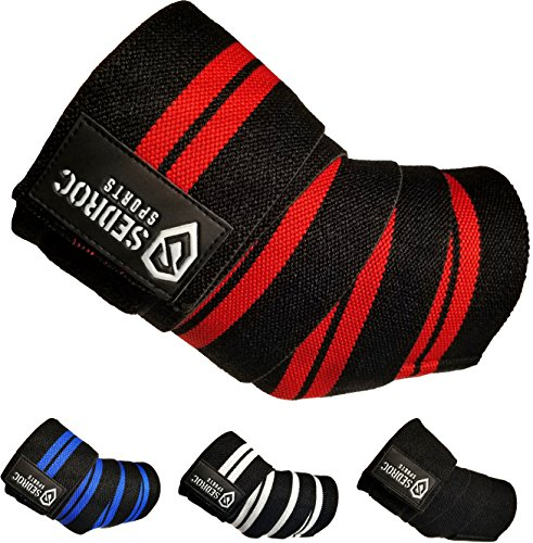 Sedroc Sports Weight Lifting Elbow Wraps Powerlifting Support Sleeves Straps - Pair