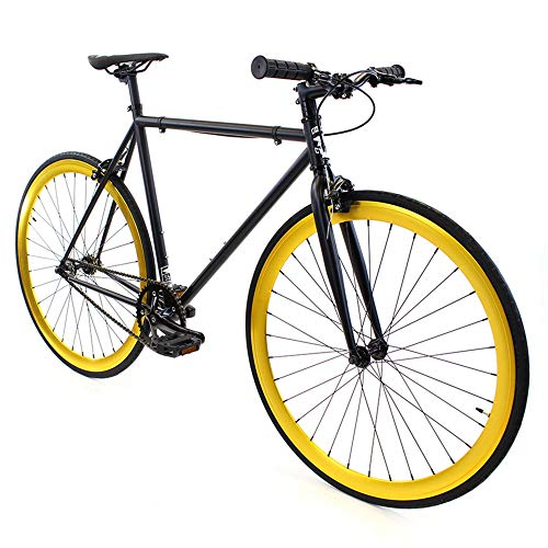 Golden Cycles Fixed Gear Bike Steel Frame Fixie with Deep V Rims-Collection (Saint, 55)