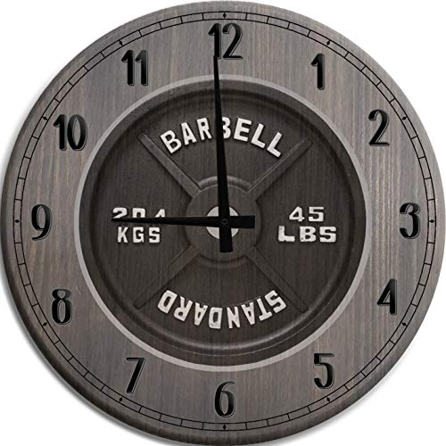 TBA Large Wall Clock Barbell 45lb Steel Plate Weightlifting Bodybuilding Gym Man Cave Wall Decor Barnwood Gray 18 inch Wall Decor