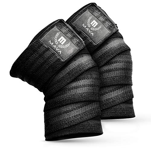 Mava Sports Knee Wraps for Cross Training WODs,Gym Workout,Weightlifting,Fitness & Powerlifting - Knee Straps for Squats - for Men & Women- 72'-Compression & Elastic Support