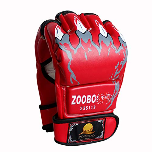 ZooBoo MMA Gloves, Half-Finger Boxing Fight Gloves MMA Mitts with Adjustable Wrist Band UFC Gloves for Sanda Sparring Punching Bag Training