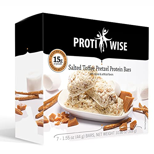 ProtiWise - 15g High Protein Bars (Salted Toffee)   Low Calorie, Low Fat, Gluten Free, Low Sugar (7/Box)