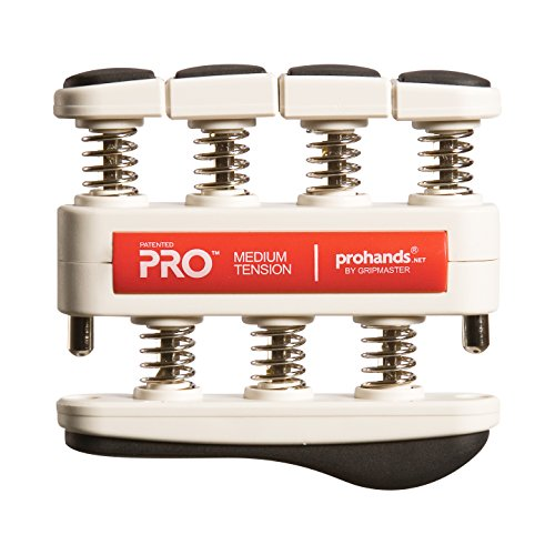 Prohands PRO Hand Exerciser, Finger Exerciser (Hand Grip Strengthener), Spring-Loaded, Finger-Piston System, Isolate and Exercise Each Finger, (7 lb Medium Tension, Red-Pro)