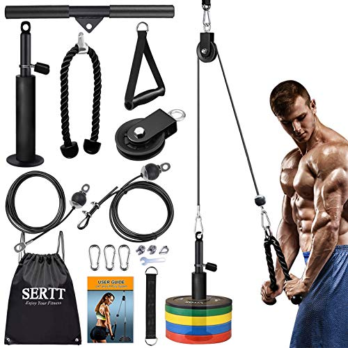 SERTT LAT and Lift Pulley System Gym, Upgraded DIY Fitness Pulley Cable Machine Attachment for Triceps Pull Downs, Biceps Curl, Forearm, Shoulder - Home Gym Exercise Pulley System Equipment