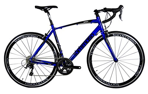 Tommaso Monza - Holiday Special Pricing - Endurance Aluminum Road Bike, Carbon Fork, Shimano Tiagra, 20 Speeds, Aero Wheels, Matte Black, Blue