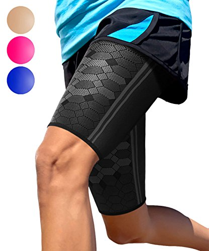 Sparthos Thigh Compression Sleeves (Pair) – Quad and Hamstring Support – Upper Leg Sleeves for Men and Women – Made from Innovative Breathable Elastic Blend – Anti Slip (XX-Large, Midnight Black)